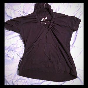 ProSpirit Yoga hooded pull over-black-short sleeve